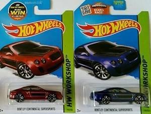 2015 Hot Wheels Hw Workshop - Bentley Continental Supersports (ROT & Blau) - Set of 2! by Mattel