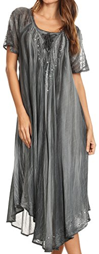 2 Piece Embroidered Tie - Sakkas 17604 - Myani Two Tone Embroidered Sheer Cap Sleeve Caftan Long Dress | Cover Up - Grey - OS