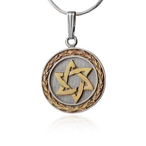 Wreath Round Silver Sterling - Round Sterling Silver and Gold Star of David Wreath Pendant