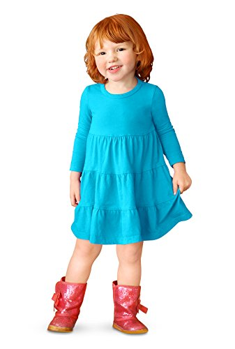 City Threads Little Girls' Cotton Long Sleeve Tiered Ruffle Dress, Turquoise, -