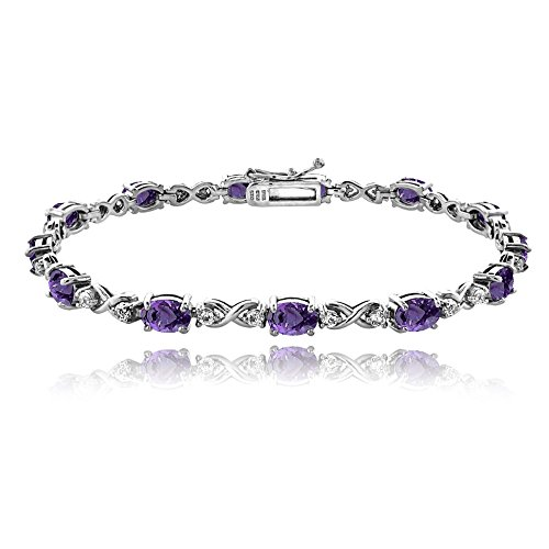 GemStar USA Sterling Silver African Amethyst 6x4mm Oval Infinity Bracelet with White Topaz Accents