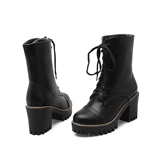 AgooLar Women's Lace-up Round Closed Toe High-Heels PU Low-Top Boots Black IdhZQo