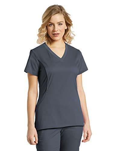 Allure by White Cross Women's 722 Solid Knit Side Panel Scrub Top- Pewter- Large