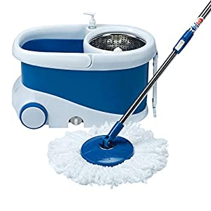 Gala – 142651 Jet Spin mop with stainless steel wringer, jumbo wheels and 2 refills (White and Blue)