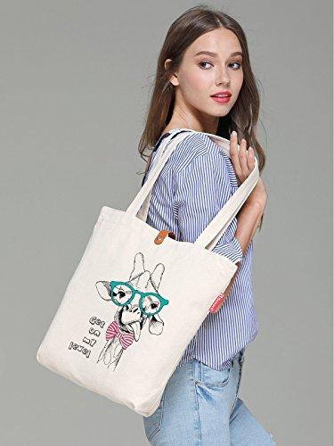 So'each Women's Cute Animal Giraffe Graphic Top Handle Canvas Tote Shopping Bag