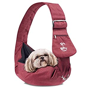 Puppy Eyes Waterproof Pet Carrier Sling Comfortable and Adjustable Dog Sling Ideal for Small & Medium Dogs up to 16 lb – Lightweight & Easy-Care Dog Carrier with Bonus car seat Belt and E-Book (red)