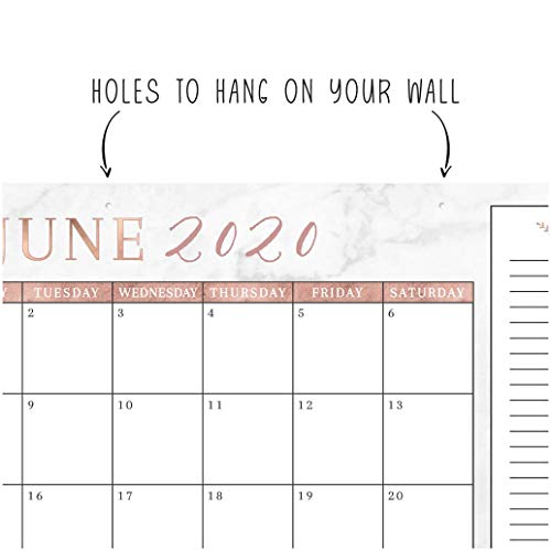 Rose Gold Marble 2020 Large Monthly Desk Or Wall Calendar Planner Big Giant 18