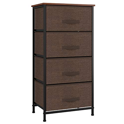 Homfa Dresser Organizer with 4 Drawers, Storage Tower Sturdy Steel Frame Wood Top with Easy Pull Fabric Organizer Bins, Multipurpose Nightstand Chest Beside End Table for Bedroom Home (Espresso/Brown) (Dresser Top Cabinet)