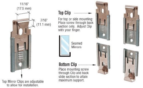 CRL Nickel Plated Adjustable Mirror Clip set for 3 8 in (10 mm) Straight Edge Glass - Package by C.R. Laurence