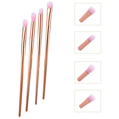 4 Pcs Rose Gold Makeup Brushes Set Powder Eyeshadow Eyeliner