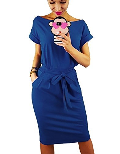 PRETTYGARDEN Women's 2018 Casual Short Sleeve Party Bodycon Sheath Belted Dress with Pockets (Blue, Large)