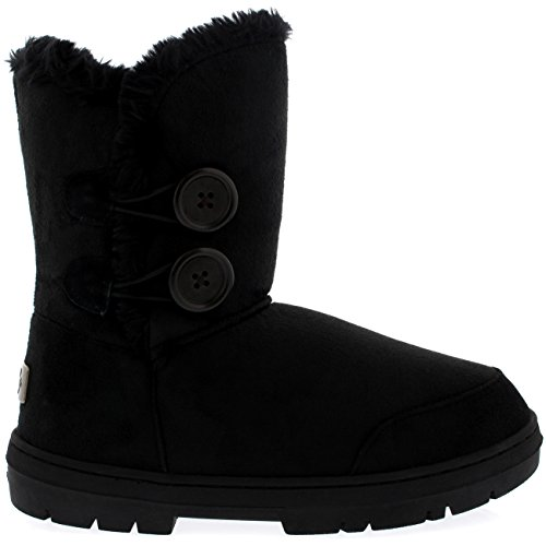 Snow Boots Waterproof Black Womens Twin Button Holly Winter XUw6pq