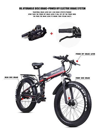 26 Pollici Fat Tire Electric Bike 1000W 48V Snow E-Bike Shimano 21 velocità Beach Cruiser Mens Women Mountain e-Bike… 3 spesavip