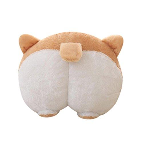 36 Brushed Linen - Novelty Cute Warm Corgi Dog Buttocks Hand Cushion Plush Pillow 42cm x 36cm