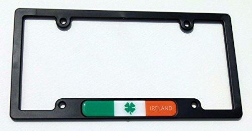 - Ireland Irish Flag Black Plastic Car License plate frame domed decal shamrock