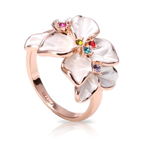 FASHION PLAZA White Enamel & Multi-color Swarovski Crystals Flower Ring (Available in Sizes 5 6 7 8 9) R79 (8) ()