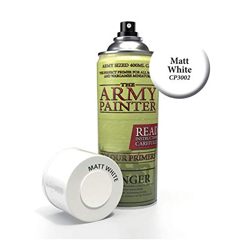 The Army Painter Color Primer, Matt White, 400ml, 13.5oz - Acrylic Spray Undercoat for Miniature Painting ()