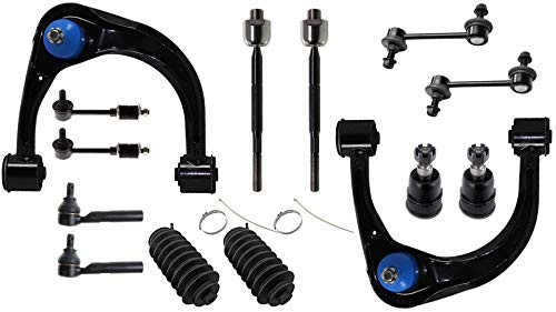 Detroit Axle - 14PC Front Upper Control Arms, Lower Ball Joints, Front Rear Sway Bars, Inner and Outer Tie Rods w/Rack Boots for 2003-2009 Toyota 4Runner/ Lexus GX470 (No Dynamic SUS) ()
