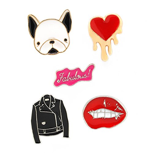MeliMe Cute Cat Animal Floral Fruits Enamel Brooch Pins Cartoon Lapel Pins Lovely Badge for Women Kids Clothing Decoration (Jacket Heart Lips Set of 5) ()
