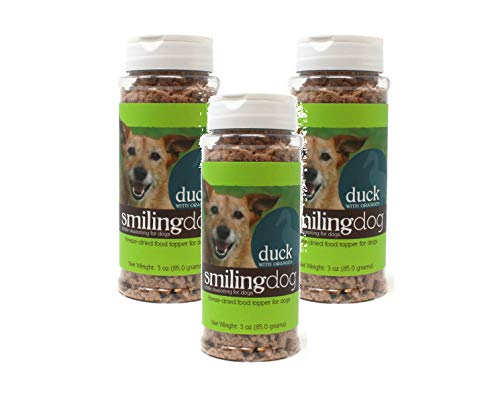 Herbsmith 3 Pack Smiling Dog Kibble Seasoning - Freeze Dried Duck and Orange Flavor - Dog Food Topper for Picky Eaters, 3.5 Ounces Each