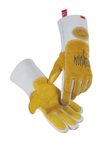 Caiman 1812-5 Large Metal Inert Gas and Stick Welding Glove with Pig Grain Leather and Heat Shield Reinforcement on Back of Left Hand