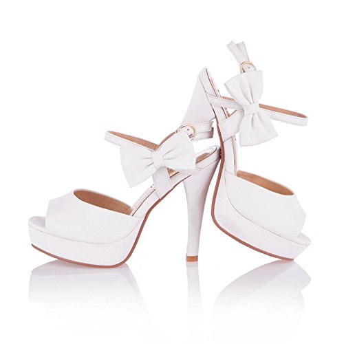 VogueZone009 Womens Open Peep Toe High Heel Platform Stiletto PU Soft Material Solid Sandals with Bowknot, White, 3 UK