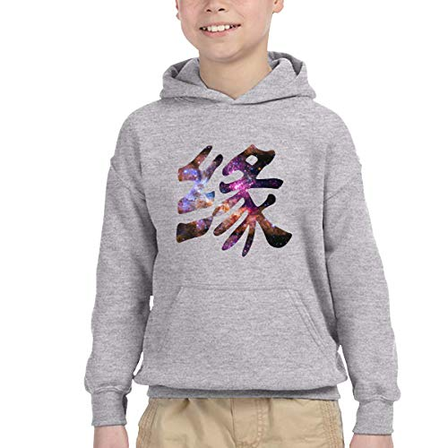 Nebula Typography Japanese Kanji Destiny Boys' Girls' Classic Hoodies Soft Hooded Sweatshirts