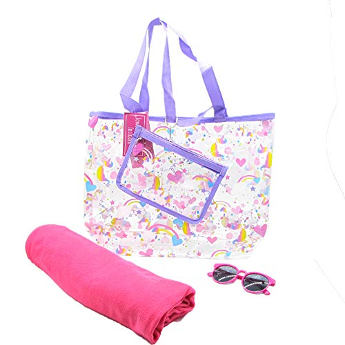 Carried Away Bags Graphic Designed Tote Bag Set Comes with Pouch, Kids Sunglass and Towel Easy Storage Holder with Shoulder Straps - For Pool Beach Vacation and Travel - Unicorn