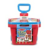 """Melissa & Doug Fill & Roll Grocery Basket Play Set, Play Food, Durable Construction, 11 Pieces, 22"""" H x 10.25"""" W x 11.75"""" L"""
