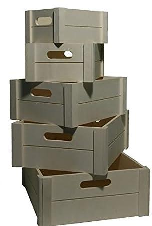 Juego de 5 caja de madera natural 33 x 30 x 13 cm hasta 20 x