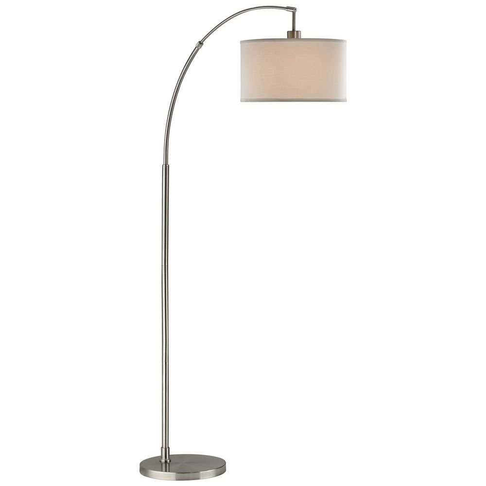 Arc Floor Lamp with Modern Drum Shade in Satin Nickel