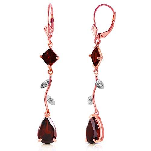 14k Rose Gold Chandelier Earrings with Diamonds and Garnets (14k Diamond Chandelier Earrings)