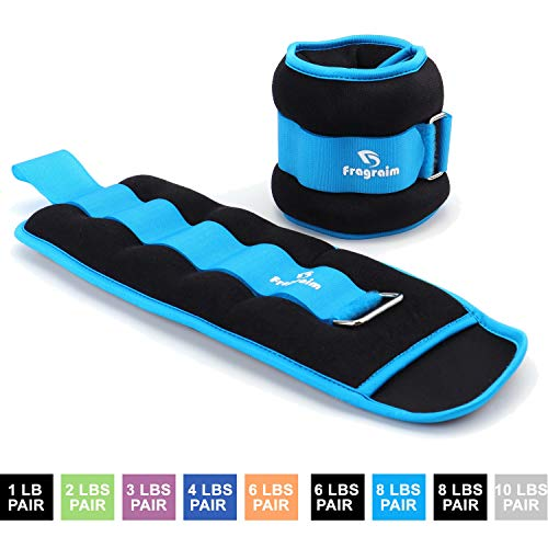 Fragraim Ankle Weights for Women, Men and Kids - Strength Training Wrist/Leg/Arm Weight Set with Adjustable Strap for Jogging, Gymnastics, Aerobics, Physical Therapy (Sky Blue - 8 lbs Pair)