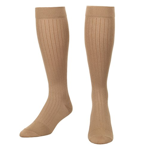 Microfiber and Cotton Compression Socks for men with - Dress Sock look and feel - Graduated Support Socks 15-20 mmHg - 1 Pair - Made In USA - Absolute Support - Sku: A1013 (Khaki, Medium)