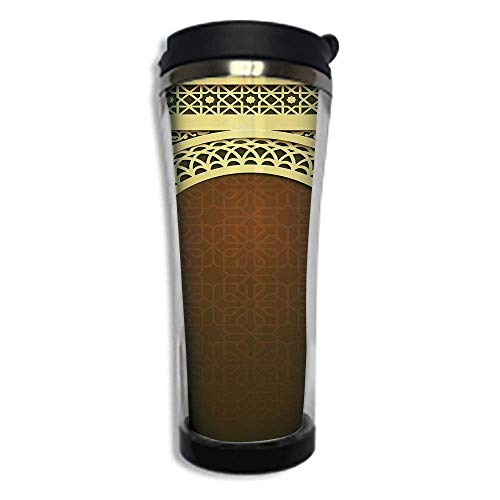 Customizable Travel Photo Mug with Lid - 14.2OZ(420 ml) Stainless Steel Travel Tumbler, Makes a Great Gift by,Moroccan,Middle Eastern Ramadan Greeting Scroll Arch Figure Celebration Holy Eid Theme, Br