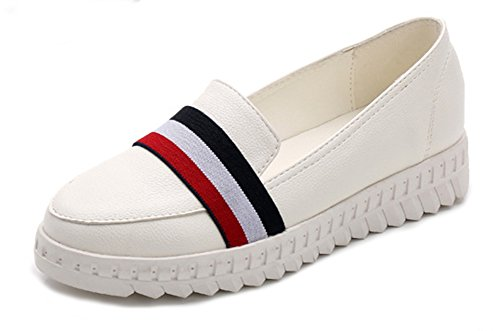 Compensé Loafers Femme Aisun On Mode Talon Mocassins Blanc Slip vtHqT