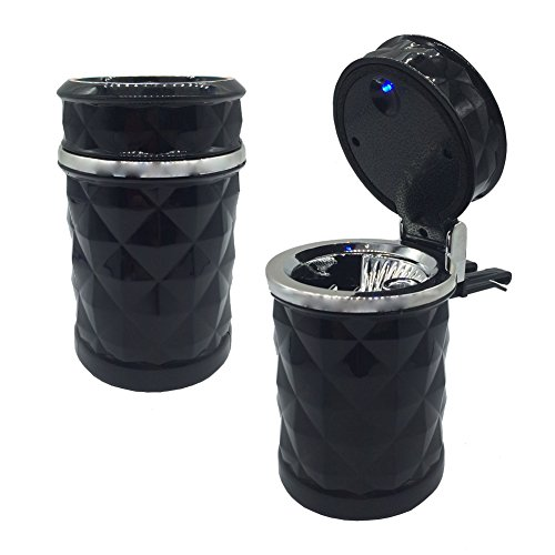 THREE BEARS Car Cigarette Ashtray with Lid Blue LED Light and Buckles Portable Fit Most Car Cup - Cigars Little Light
