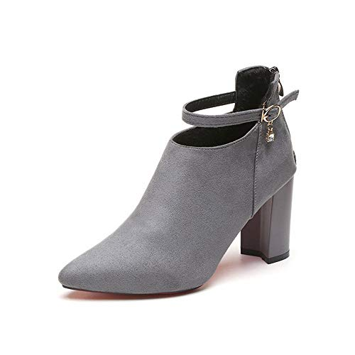Women Ankle Heel Boots for Winter Party Wedding with Leather Low-Heel Round Toe(Grey1 Lable 38/7 B(M) US Women)