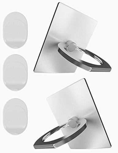 Cell Phone Ring Holder, Bidear (TM) [Anti Drop Ring Grip] Phone Ring and Stand with Car Mount Base for Cell Phone and Tablets [Sony/Samsung/Apple/HTC/HUAWEI & More] (2PCS White)