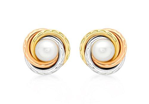 9ct or 3couleurs Nœud Et Perles 12mm Boucles d'oreilles clous