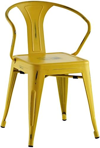 Modway Promenade Modern Aluminum Bistro Dining Chair in Yellow