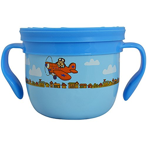 EcoVessel GOBBLE N GO Kid's Stainless Steel Snack Cup with Mess-Free Silicone Top - 16 Ounces - Blue with Dog on Plane