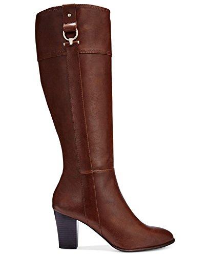 (Alfani Women's Courtnee Wide Calf Cognac Knee-High Leather Equestrian Boot - 5.5M )