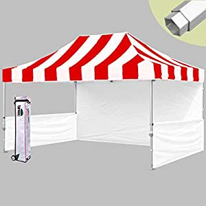 Eurmax Profession 10x15 Pop up Tent Instant Canopy Booth,bonus Wheeled Bag 4weight Bag(striped Red|white)