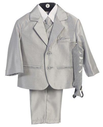 Boy's 2-Button Metallic Suit in Pewter or Silver (Infant-Tween) Vest 2 Ties by Lito