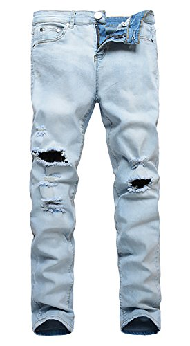 Men's Blue Elastic Skinny Slim Fit Rolled Up Jeans With Knee Rips 38