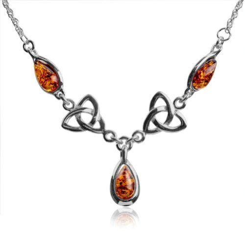 Honey Amber and Sterling Silver Celtic Love Knot Classic Necklace - Amber Celtic Knot