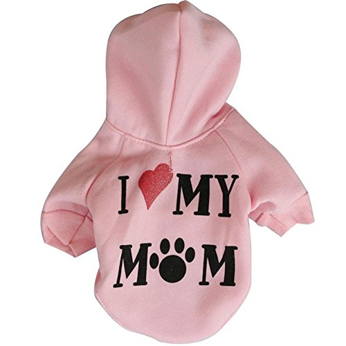 - Haogo Pet Puppy Sweater I Love My Mom Printed Hooded Sweatshirt for Small Dog Pet Pink M