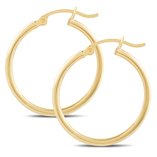 832d11921 14k Yellow Gold Classic Shiny Polished Round Hoop Earrings for Women, 2mm  tube