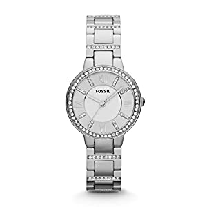 FOSSIL Virginia Stainless Steel Watch – Silver Analogue Women's Quartz Wrist Watch with Clear Crystal Applications on Bezel and Bracelet in Gift Box – 10 ATM Water Resistant